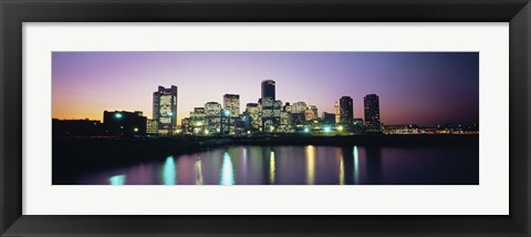Framed Buildings lit up at dusk, Boston, Suffolk County, Massachusetts, USA Print