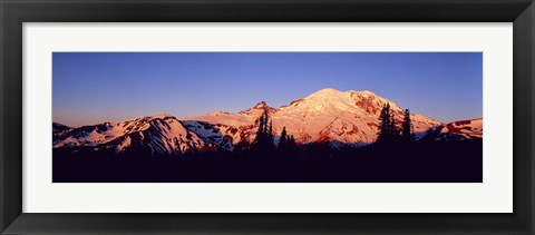 Framed Sunset Mount Rainier Seattle WA Print