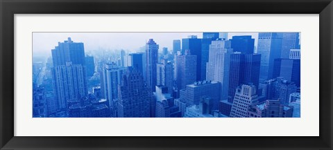Framed New York Skyscrapers in Blue Print