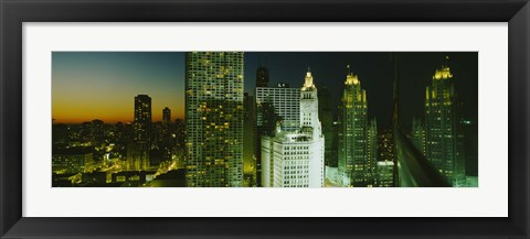 Framed Close-Up of Chicago at Night Print
