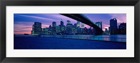 Framed Panoramic View of New York City with Purple Sky Print