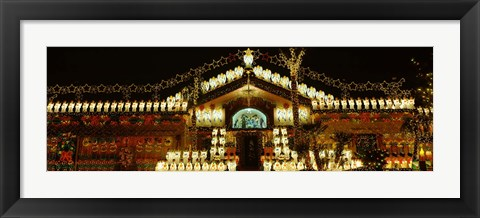 Framed Low angle view of a house decorated with Christmas lights, Phoenix, Arizona, USA Print