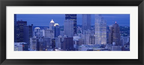 Framed Buildings in a city lit up at dusk, Pittsburgh, Pennsylvania, USA Print
