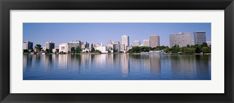 Framed Panoramic View Of The Waterfront And Skyline, Oakland, California, USA Print