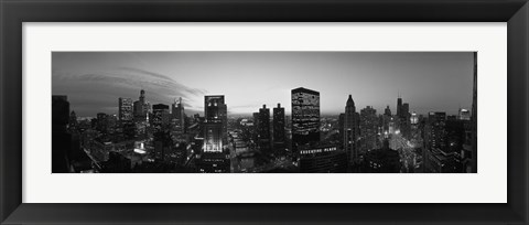 Framed Black and White View of Chicago Skyline Print