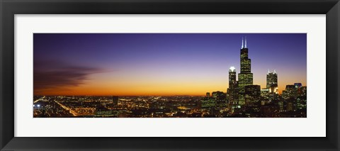 Framed Chicago at Night with Purple Sky Print