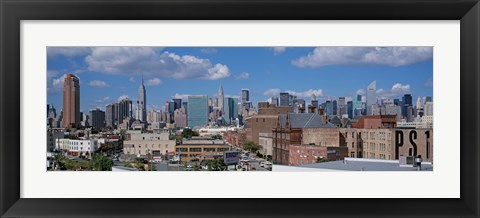 Framed Aerial View Of An Urban City, Queens, NYC, New York City, New York State, USA Print