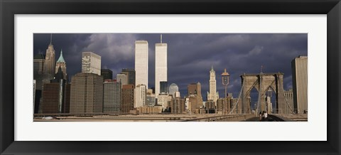 Framed People walking on a bridge, Brooklyn Bridge, Manhattan, New York, USA Print