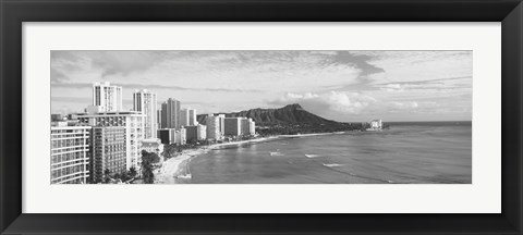 Framed Diamond Head, Waikiki, Oahu, Honolulu, Hawaii (black & white) Print