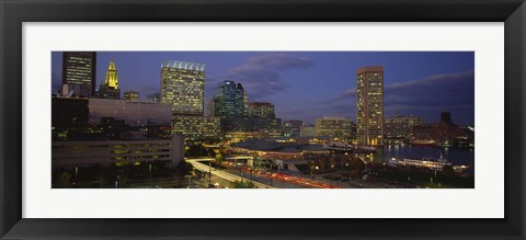 Framed High angle view of a cruise ship docked at a harbor, Inner Harbor, Baltimore, Maryland, USA Print
