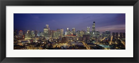 Framed High Angle View Of Buildings Lit Up At Dusk, Chicago, Illinois, USA Print