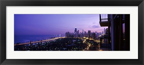Framed High angle view of a city at night, Lake Michigan, Chicago, Cook County, Illinois, USA Print