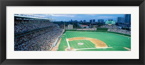 Framed High angle view of spectators in a stadium, Wrigley Field, Chicago Cubs, Chicago, Illinois, USA Print