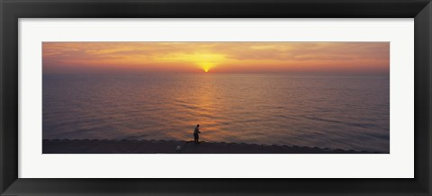Framed Sunset over a lake, Lake Michigan, Chicago, Cook County, Illinois, USA Print