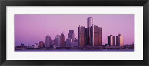 Framed Detriot, Michigan with Purple Sky Print