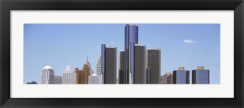 Framed Skyscrapers in a city, Detroit, Wayne County, Michigan, USA Print