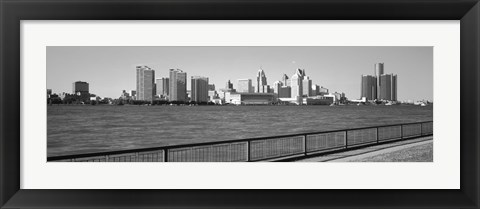 Framed Detroit Waterfront, Michigan (black & white) Print