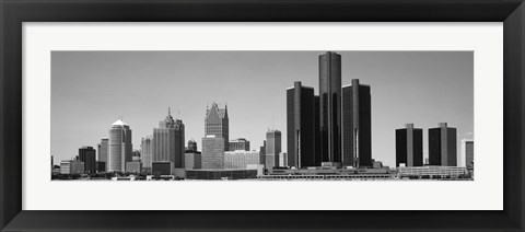 Framed Skyscrapers In The City, Detroit, Michigan, USA Print