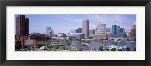 Framed USA, Maryland, Baltimore, High angle view of Inner Harbor Print