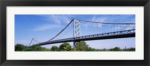 Framed USA, Philadelphia, Pennsylvania, Benjamin Franklin Bridge over the Delaware River Print