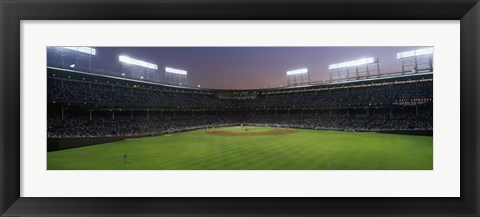 Framed Spectators watching a baseball match in a stadium, Wrigley Field, Chicago, Cook County, Illinois, USA Print