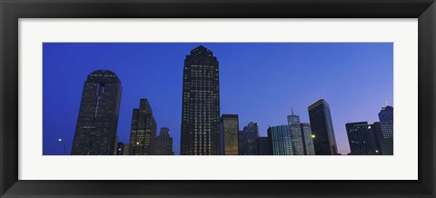 Framed Low angle view of buildings at dusk, Dallas, Texas, USA Print