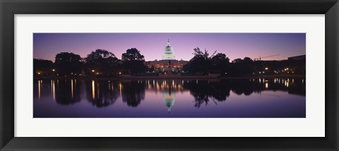 Framed Reflection of a government building in a lake, Capitol Building, Washington DC, USA Print