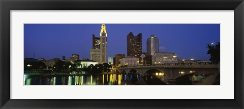 Framed Buildings lit up at night, Columbus, Scioto River, Ohio, USA Print