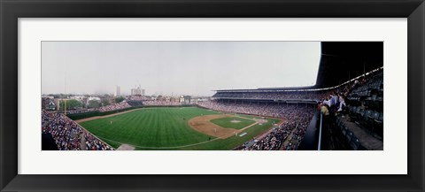 Framed Spectators watching a baseball mach in a stadium, Wrigley Field, Chicago, Cook County, Illinois, USA Print