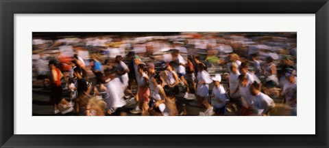 Framed Crowd participating in a marathon race, Bay Bridge, San Francisco, San Francisco County, California, USA Print