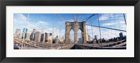 Framed Railings of a bridge, Brooklyn Bridge, Manhattan, New York City, New York State, USA, (pre Sept. 11, 2001) Print