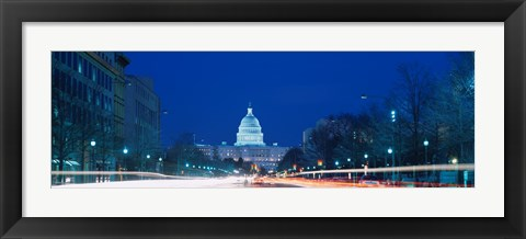 Framed Government building lit up at dusk, Capitol Building, Pennsylvania Avenue, Washington DC, USA Print