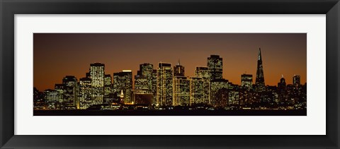 Framed Skyscrapers lit up at night, San Francisco, California, USA Print