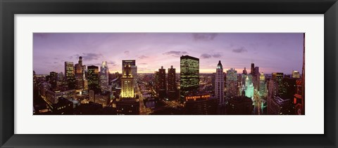 Framed Skyscrapers In A City At Dusk, Chicago, Illinois, USA Print