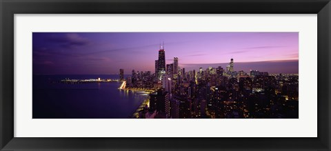 Framed Buildings Lit Up At Night, Chicago, Illinois, USA Print