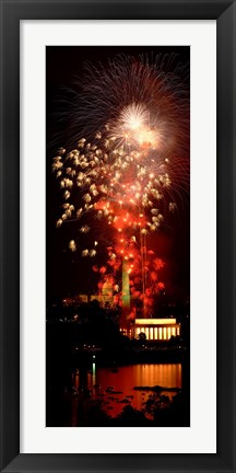 Framed USA, Washington DC, Fireworks over Lincoln Memorial Print