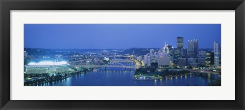 Framed High angle view of a stadium lit up at night, Three Rivers Stadium, Pittsburgh, Pennsylvania, USA Print