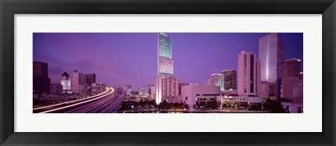 Framed City In The Dusk, Miami, Florida, USA Print