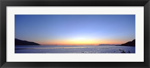 Framed Sunset over the sea, Turnagain Arm, Cook Inlet, near Anchorage, Alaska, USA Print