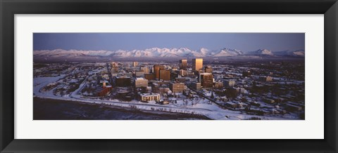 Framed Anchorage at the base of Chugach Mtns AK USA Print