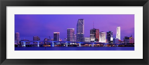 Framed Miami at night, FL Print