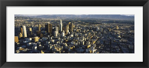 Framed Aerial view of a city, City Of Los Angeles, California, USA Print
