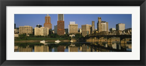 Framed Buildings at the waterfront, Portland, Oregon Print