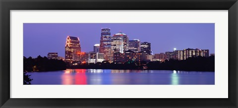 Framed US, Texas, Austin, skyline, night Print