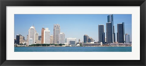 Framed Close-Up of Detroit Skyline Print