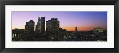 Framed Silhouette of skyscrapers at dusk, City of Los Angeles, California, USA Print