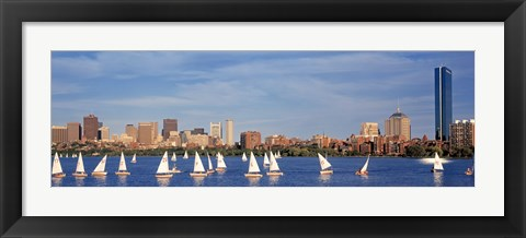 Framed View of boats on a river by a city, Charles River,  Boston Print