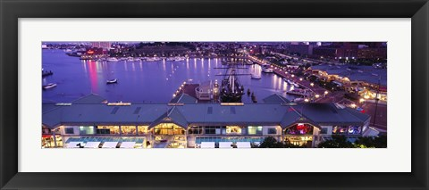 Framed Buildings at a harbor, Inner Harbor, Baltimore, Maryland, USA Print