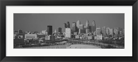 Framed Philadelphia Skyline (black & white) Print