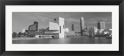 Framed Buildings at the waterfront, Rock And Roll Hall of Fame, Cleveland, Ohio, USA Print